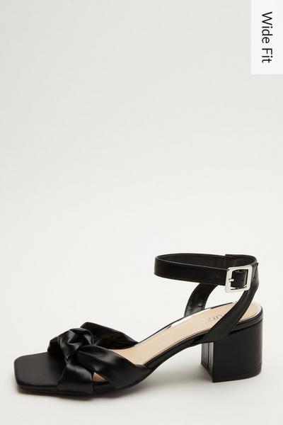 Wide Fit Black Knot Heeled Sandals